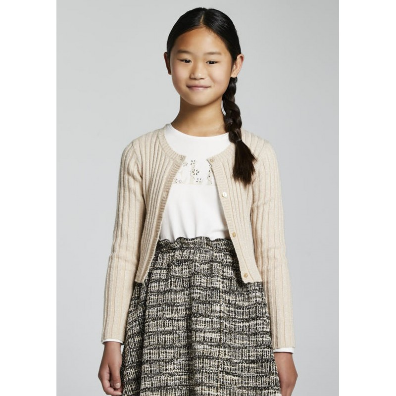 Cardigan tricot canalé fille