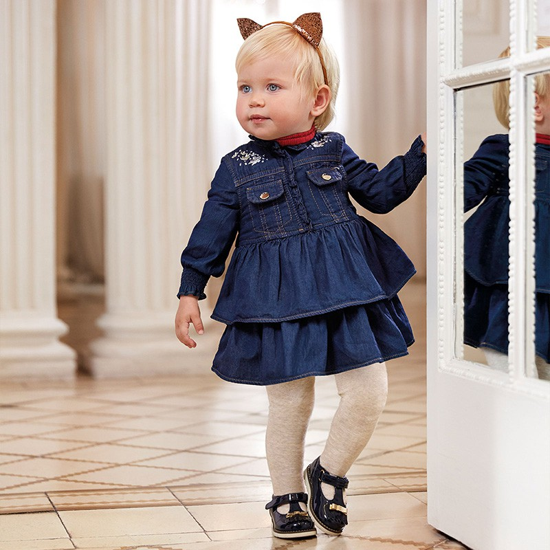 Robe jean volants bébé fille