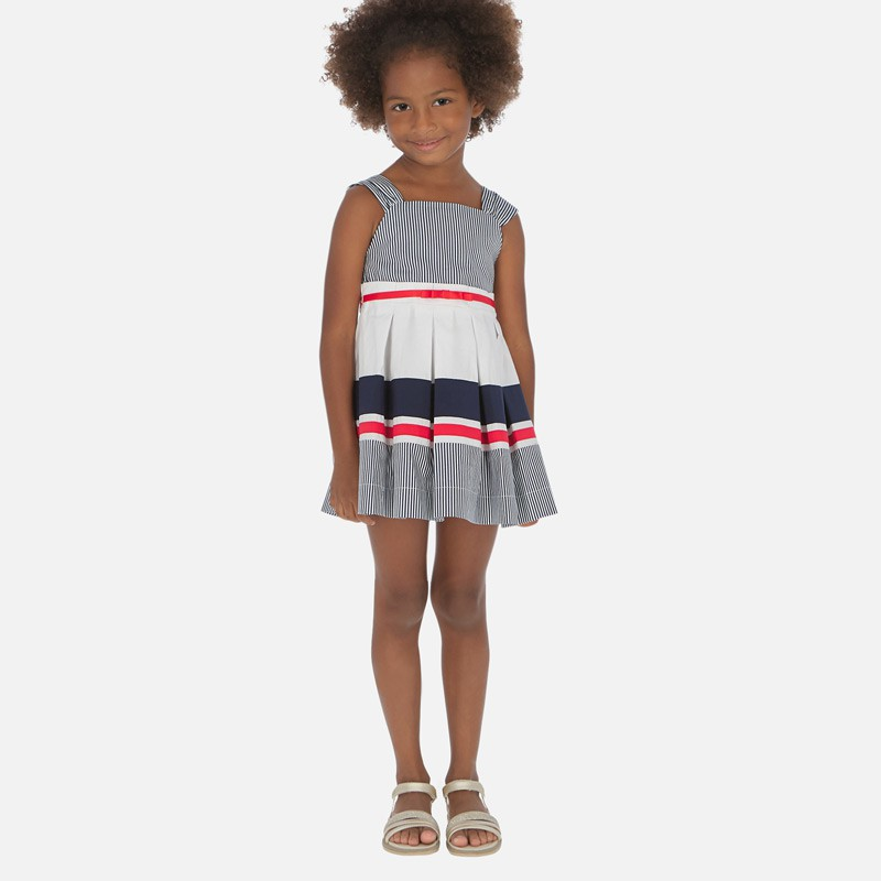 Robe rayures combinée fille